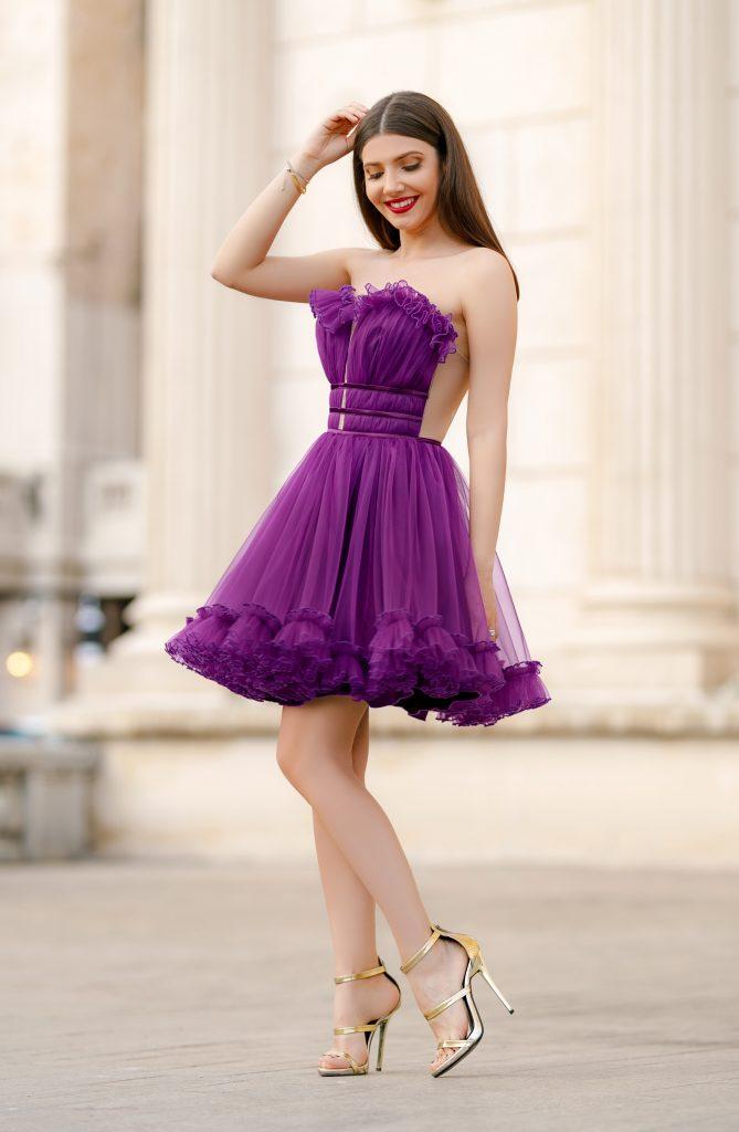 Rochie de Printesa Mov Ultraviolet Scurta in Ton cu Moda Anului Efess