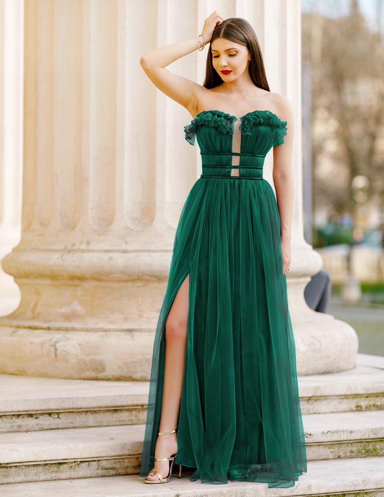 Rochie Lunga Verde Inchis stil Printesa Pentru Banchet sau Ocazii Speciale Efess