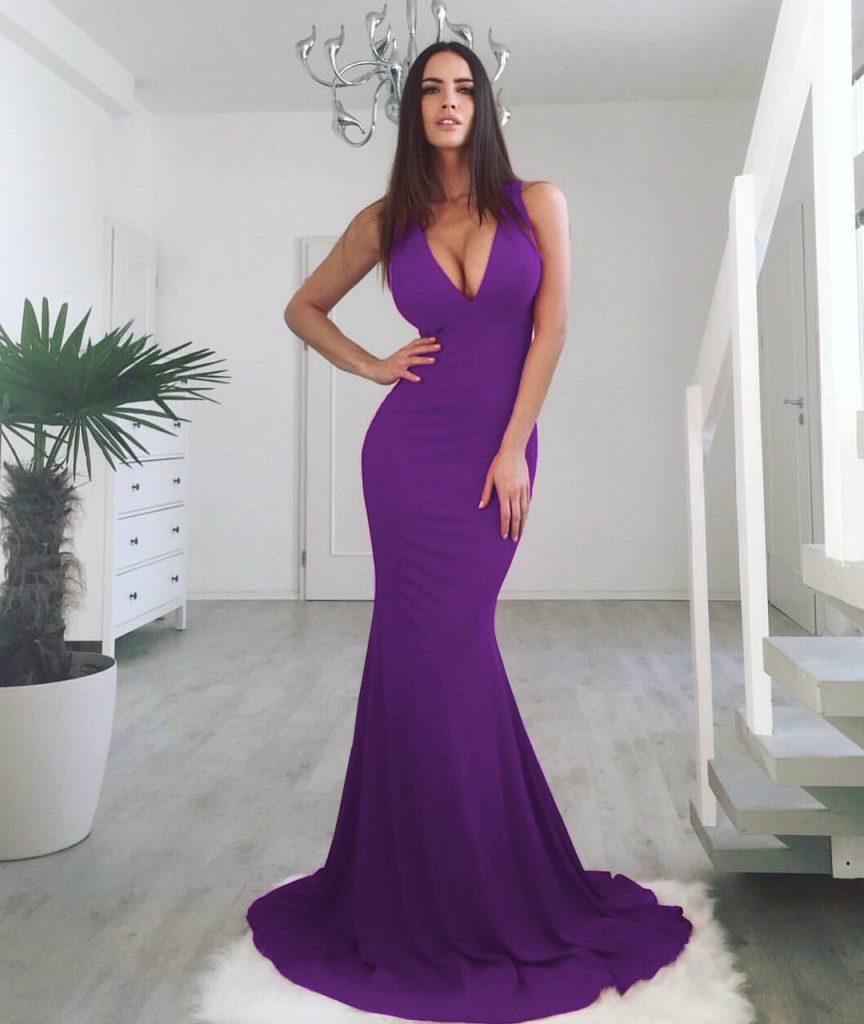 Rochie Lunga Mov Ultraviolet cu Bustul Decoltat si Croiala Sirena cu Trena Eleganta Maya