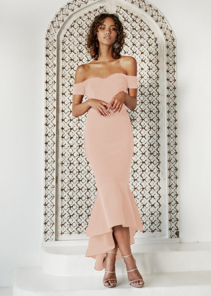 Rochie de ocazie piersica midi cu spate usor dezgolit Naomi