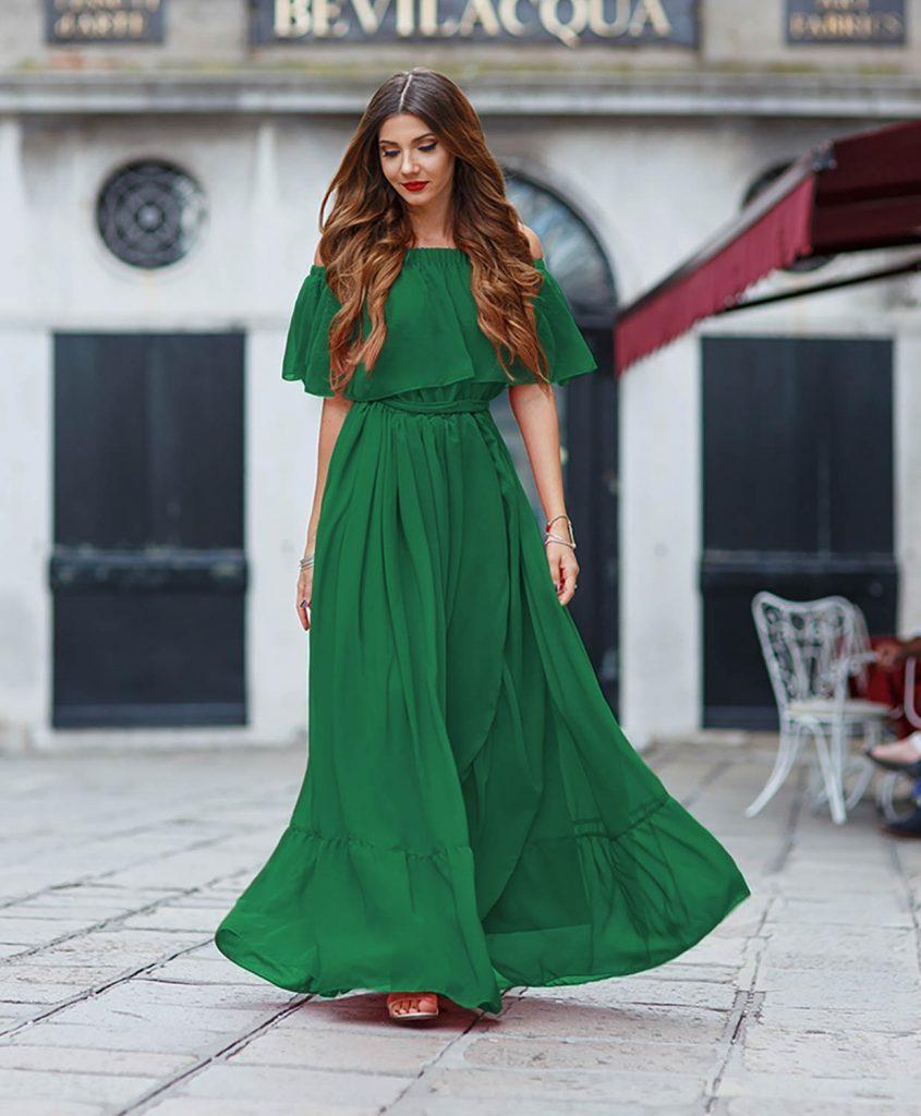 Rochie de Primavara Vara Verde Eleganta Realizata din 10m de Voal Madeira