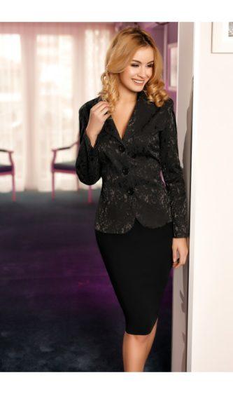 Compleu cu fusta eleganta si sacou intr-o nuanta superba de negru Ema