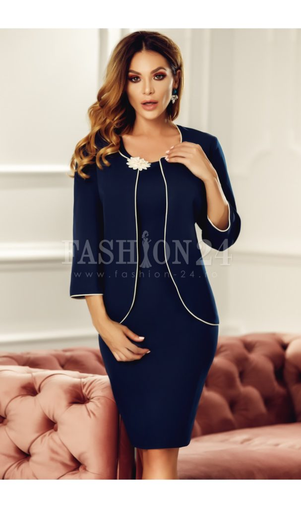 Costum elegant de dama format din rochie si cardigan bleumarin