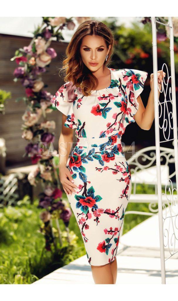 Rochie alba office de vara de lungime midi cu imprimeuri florale colorate si volane la umeri Amanda