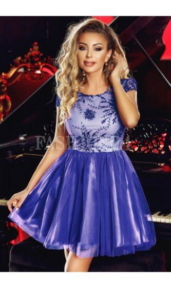 Rochie albastra scurta cu fusta din tulle si broderie la bust, decolteu rotund si maneci scurte Anelise