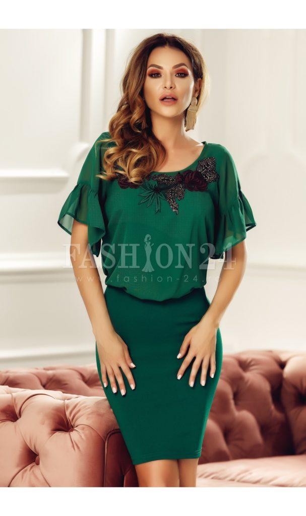Rochie scurta verde de ocazie si de seara Anisia cu detalii decorative la gat