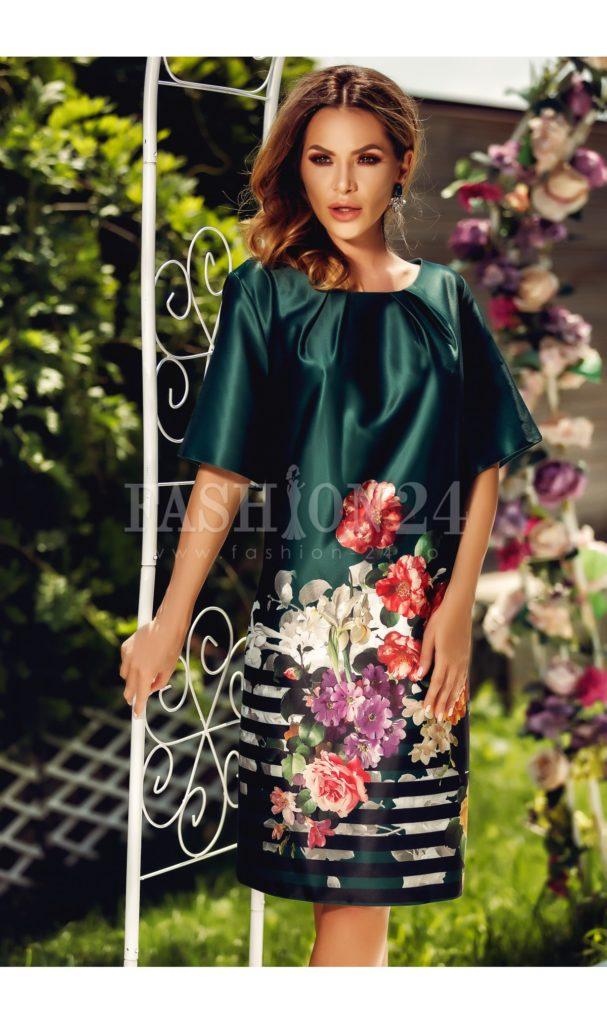 Rochie deosebita de zi si de seara vaporoasa in nuante de verde cu imprimeuri florale Eliss