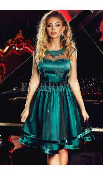 Rochie de seara verde eleganta cu broderie la bust Luxurious Green