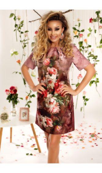 Rochie mov din matase vaporoasa cu imprimeuri florale si decolteu rotund cu pliuri Natalia