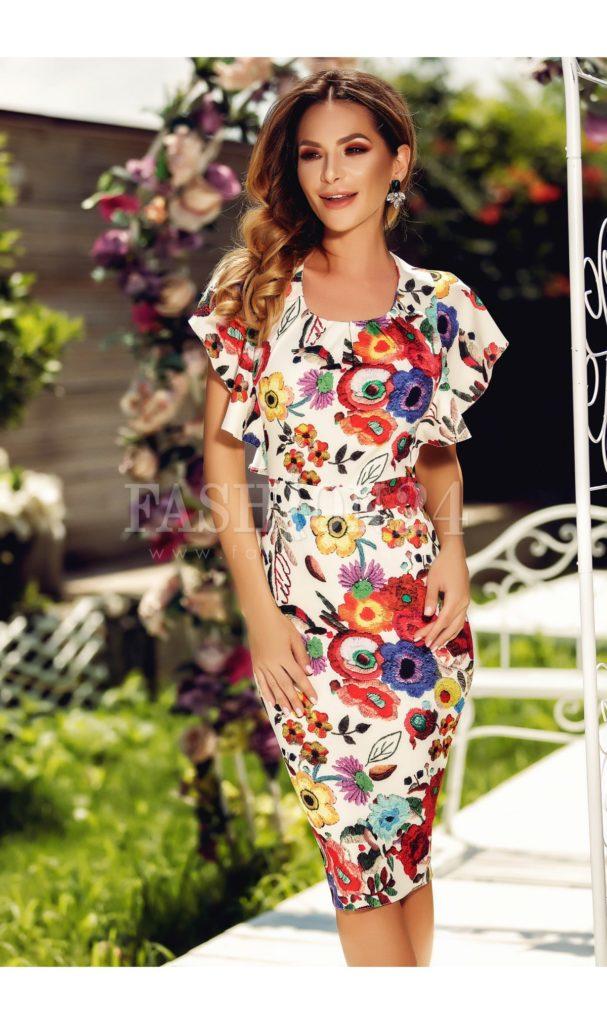 Rochie midi eleganta de vara alba Andra cu imprimeuri florale colorate