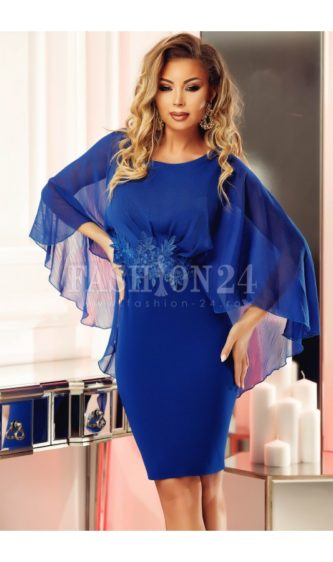 Rochie eleganta albastra cu voal diafan pe umeri si detaliu decorativ in talie Seleny