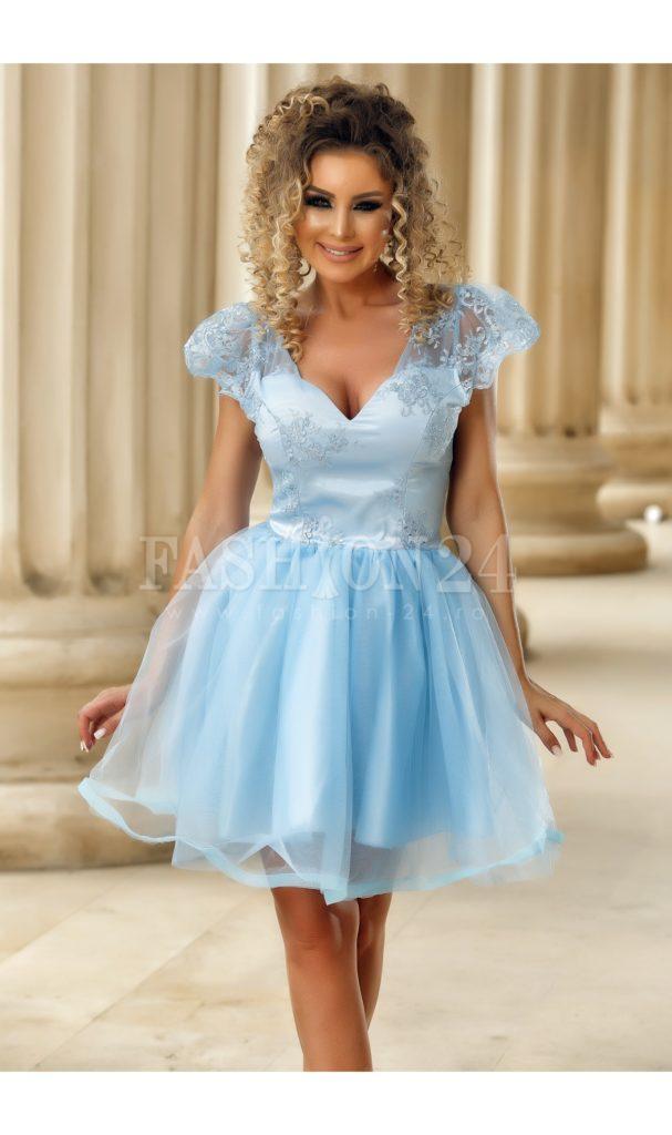 Rochie baby doll azure eleganta cu dantela la umeri si decolteu in forma de inima