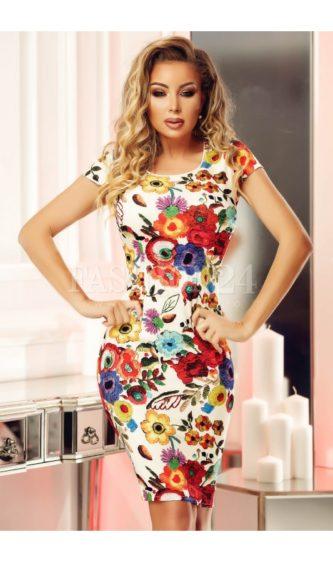 Rochie midi office de zi sau de ocazie cu imprimeuri cu flori