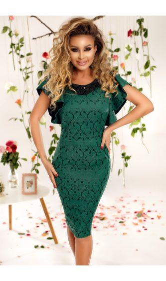 Rochie midi eleganta verde de ocazie sau de zi cu volanase discrete la umeri Lena