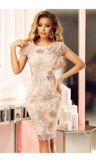Rochie de ocazie eleganta midi cu maneci scurte si imprimeuri discrete Rose Drawing