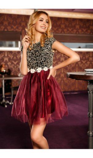 Rochie bordo cu fusta din tulle si broderie florala in talie Romina
