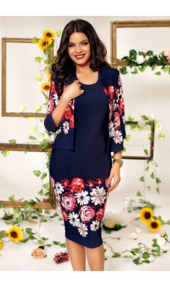 Rochie bleumarin de seara cu imprimeuri florale deosebite si bolero Alessia