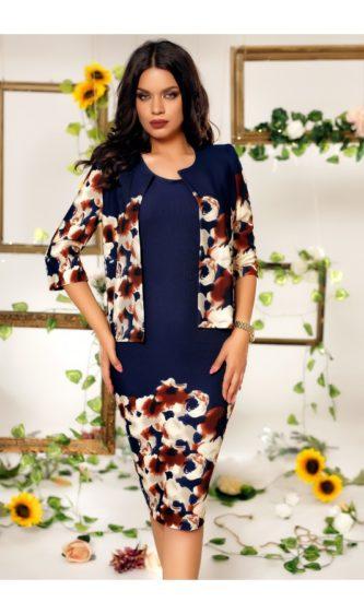 Rochie bleumarin de seara cu bolero si detalii decorative florale Bianca