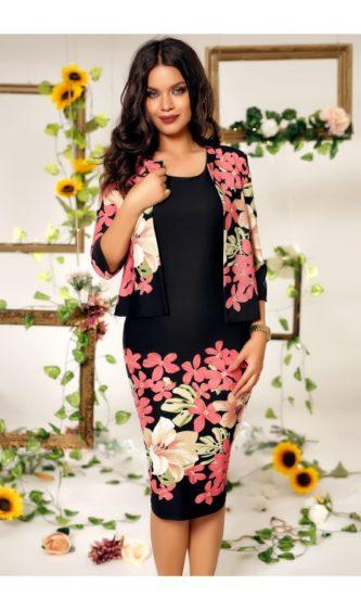 Rochie neagra eleganta cu imprimeuri florale roz si bolero dragut Ema