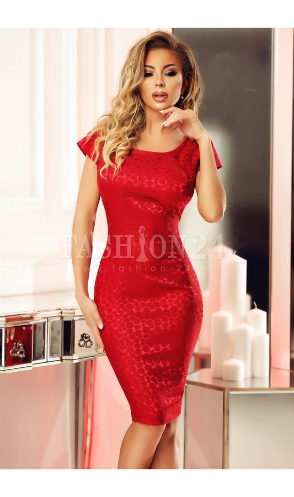 Rochie scurta eleganta rosie de ocazie pentru nunta cu design superb si aplicatii de broderie