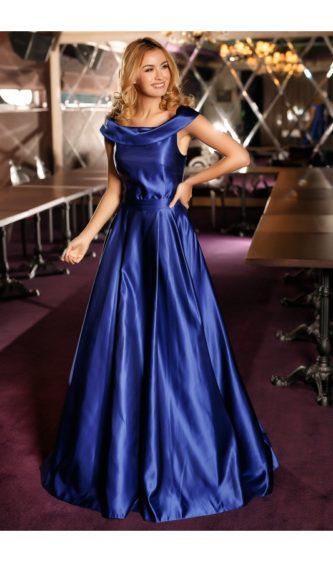 Rochie albastra de lux pentru nunta sau nasa din tafta, cu umerii goi si decolteu rotund Duchesse