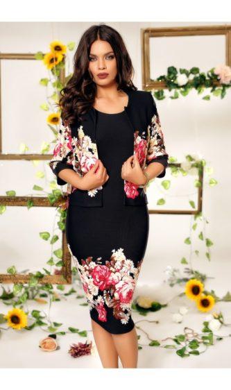 Rochie midi neagra eleganta cu bolero si imprimeuri florale Alina