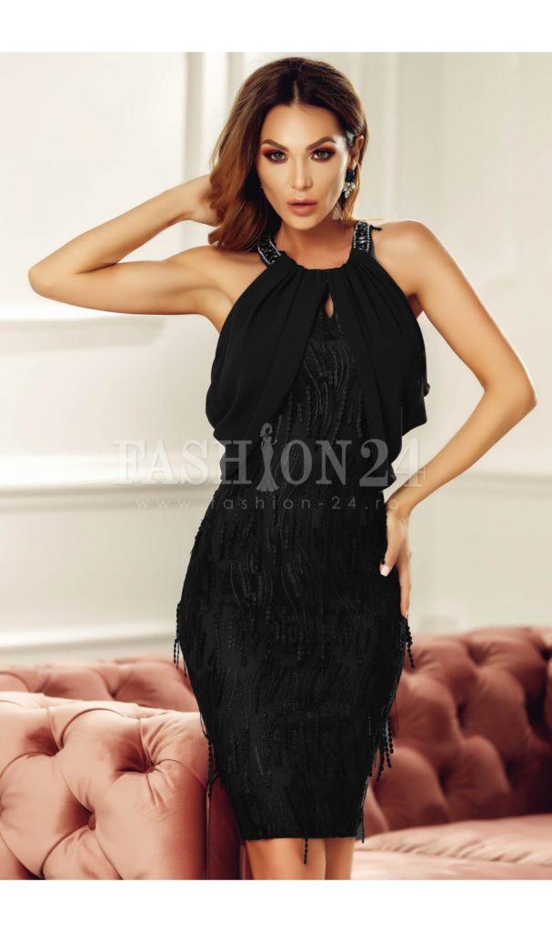 Rochie scurta eleganta neagra cu umerii goi din voal si aplicatii stilate