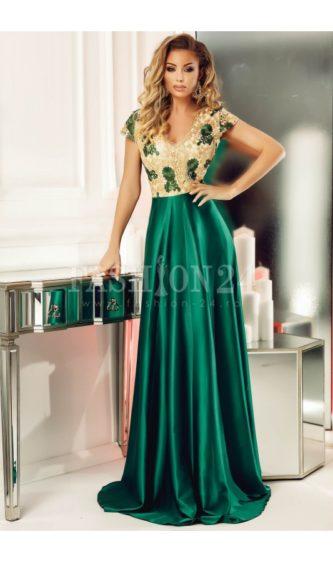 Rochie verde smarald lunga de seara pentru nunta cu bustul din dantela brodata