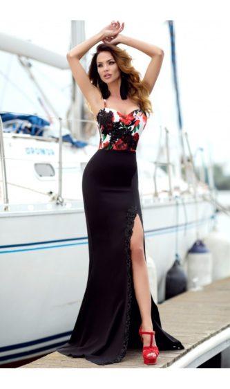 Rochie neagra eleganta lunga de seara cu crapatura adanca pe picior si detalii florale in zona corsetului Serena