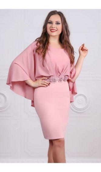 Rochie eleganta roz de ocazie si de seara cu voal diafan pe umeri si detaliu decorativ in talie Seleny