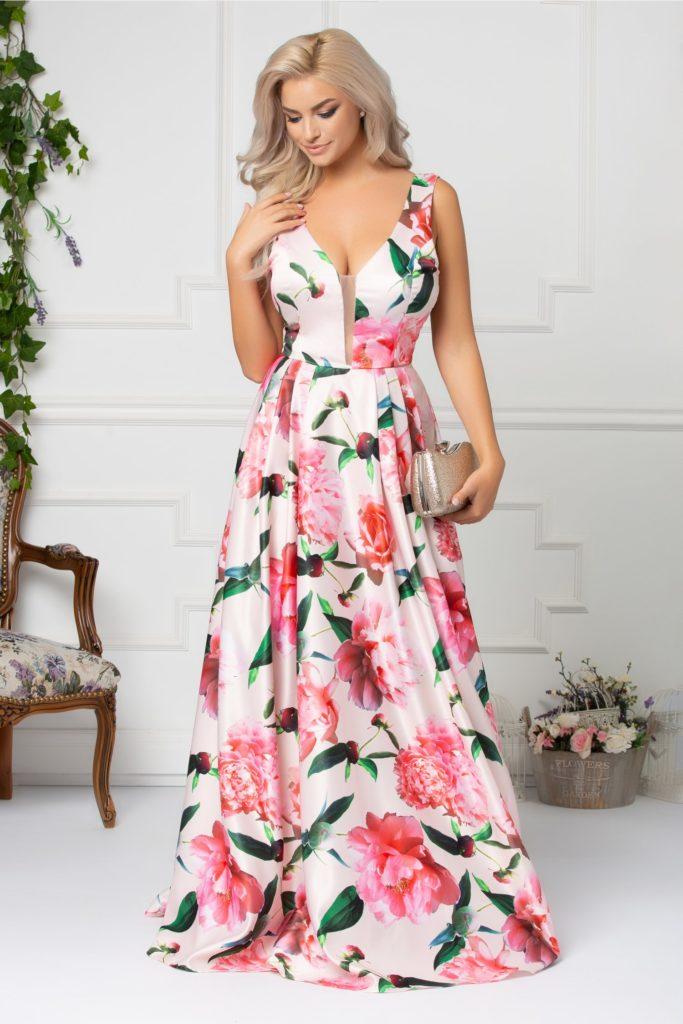 Rochie lunga roz pal cu imprimeu floral accesorizata la spate cu o fundita maxi verde Artista Tina
