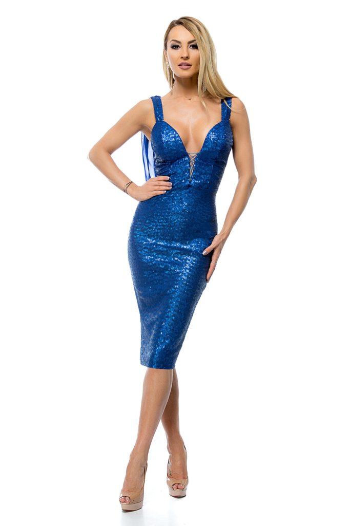 Rochie BBY albastra cu accente metalice de ocazie cu decolteu adanc in forma de V si push-up ce lasa impresia de corset