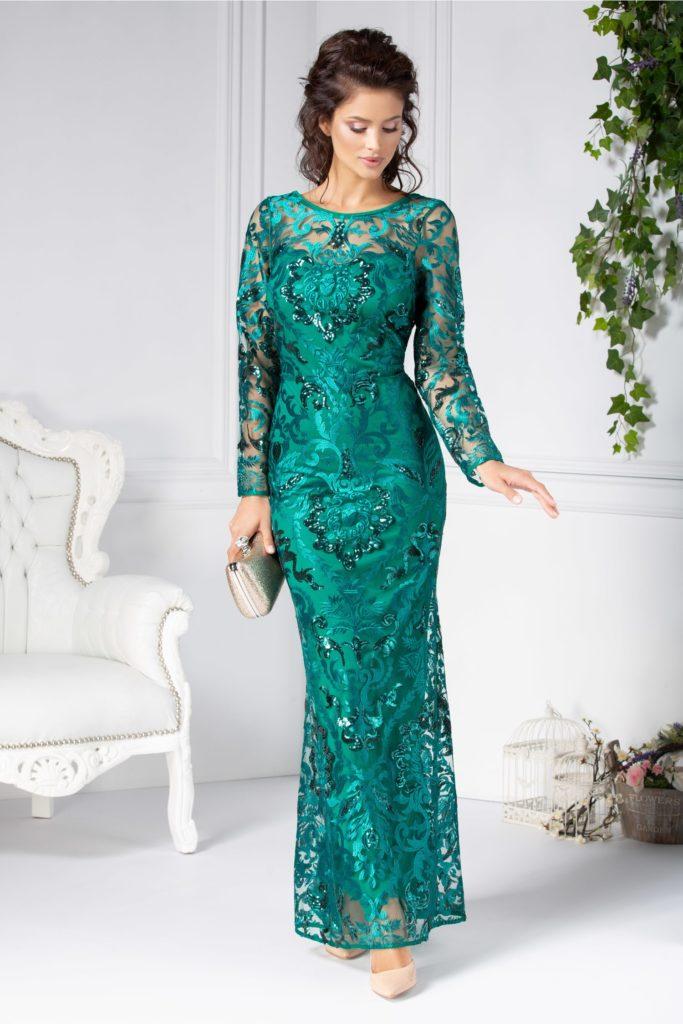 Rochie de lux verde lunga spectaculoasa creata integral din broderie si dantela florala cu forme geometrice discrete Catina