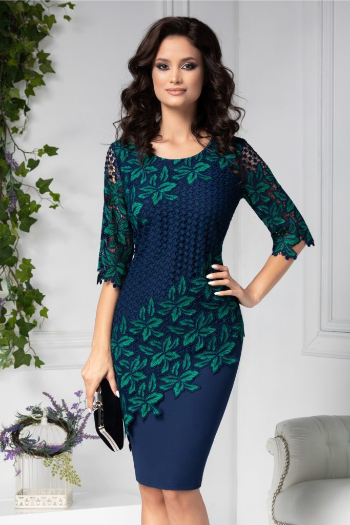 Rochie de ocazie bleumarin eleganta cu broderie florala verde si insertii tip plasa Eleonore