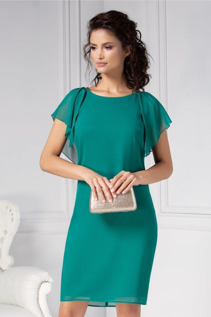 Rochie verde cu croi drept si maneci evazate vaporoase cu decolteu oval accesorizat cu cleme aurii Ginette