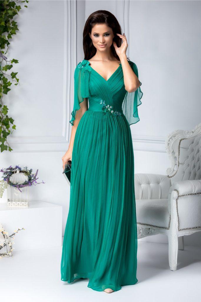 Rochie verde lunga de lux din matase naturala cu maneci vaporoase si broderie florala pe talie Ginette