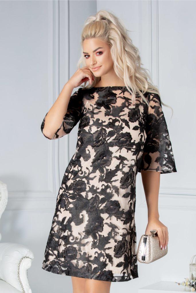 Rochie scurta creata din dantela florala neagra cu insertii fine tip plasa LaDonna