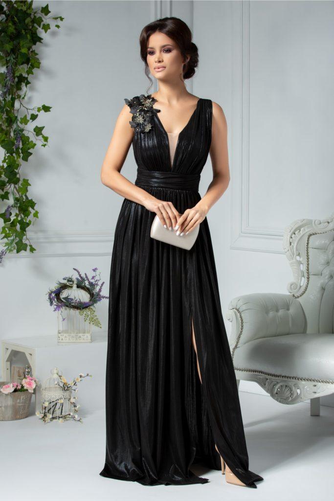 Rochie negru metalizat lunga de lux pentru seara cu spatele decupat si broderie florala cu paiete galbene pe umar Ladonna Raysa