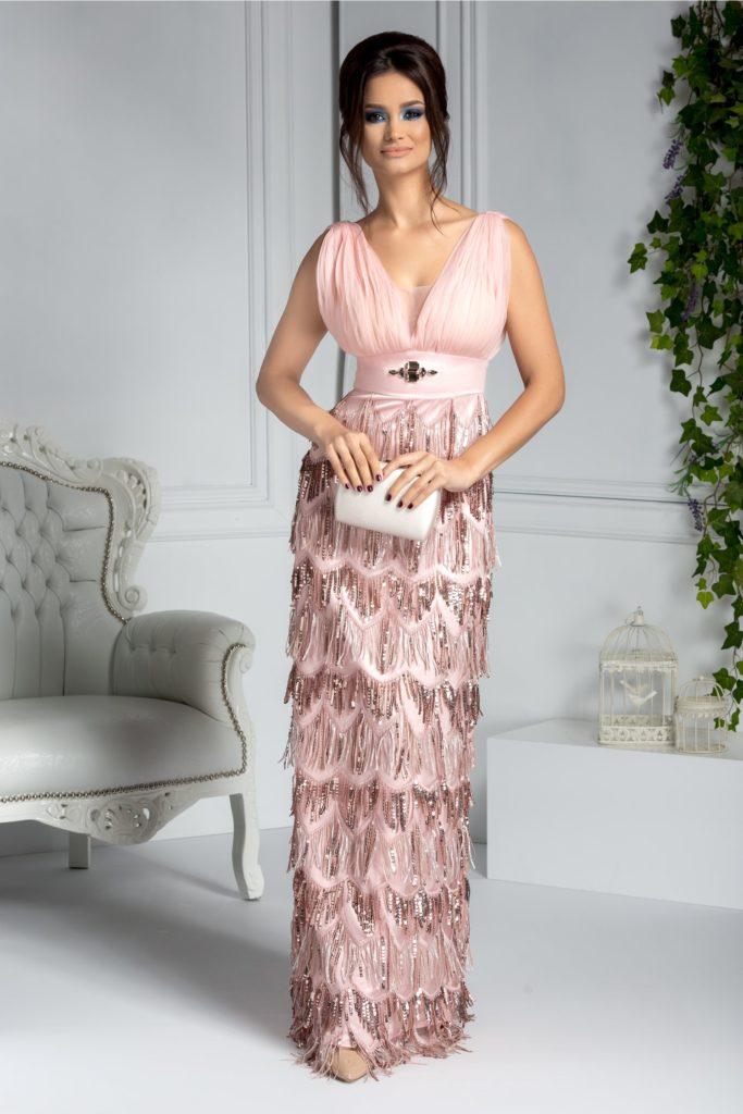 Rochie lunga de seara roz cu aspect de sirena si franjuri din paiete ce iti pune in valoare senzualitatea Ladonna