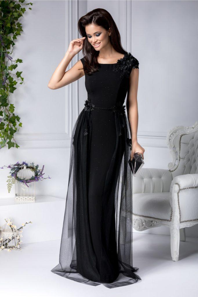 Rochie lunga fara maneci neagra marca Leonard Collection cu broderie florala si insertii handmade