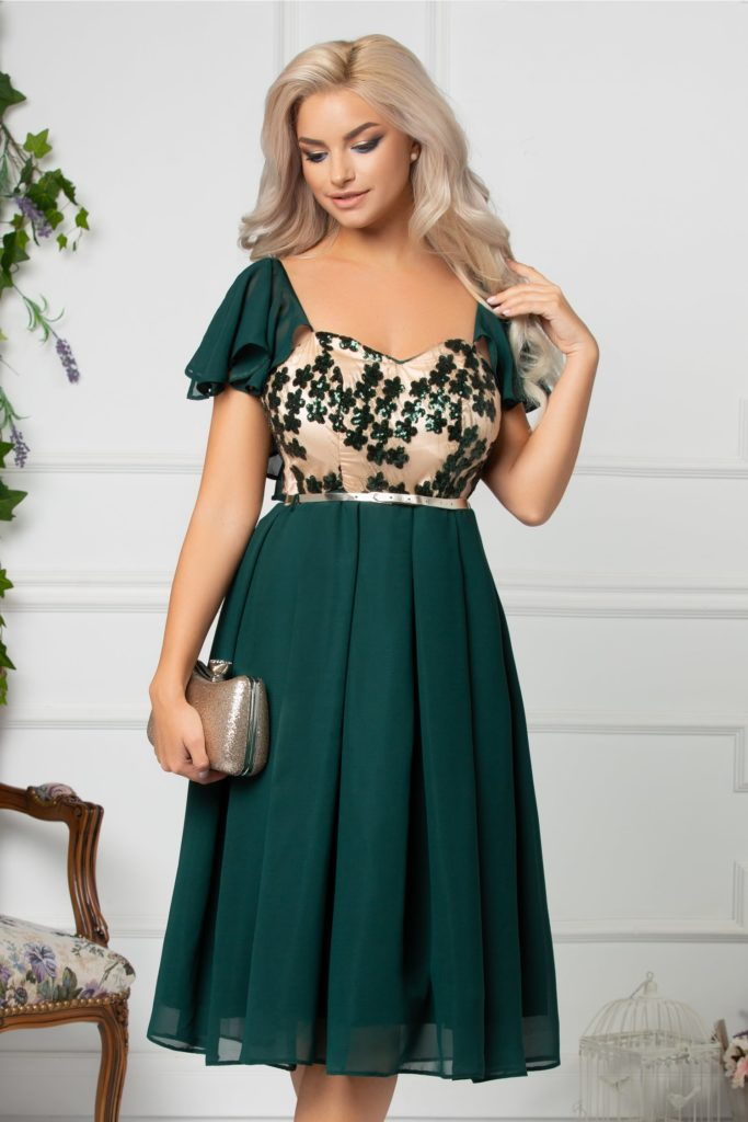 Rochie eleganta de lux de ocazie verde cu flori din paiete la bust Leticia