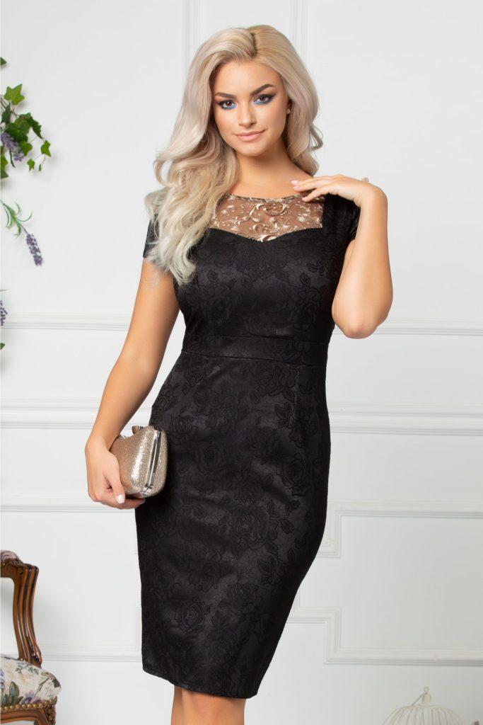 Rochie neagra pentru nunta cu o textura speciala din brocard cu voal si delicata broderie aurie pe bust Nadia