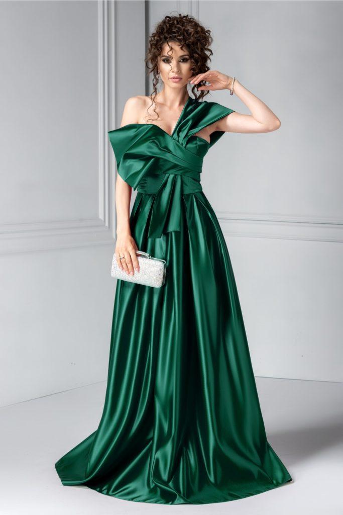 Rochie verde lunga cu aspect de sirena si funda maxi asimetrica pe bust ce iti pune in valoare feminitatea Tyrese