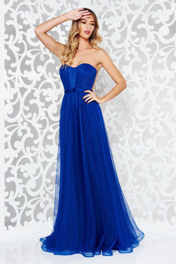 Rochie lunga albastra de lux marca Ana Radu cu bust buretat si fusta de printesa pana in pamant din voal