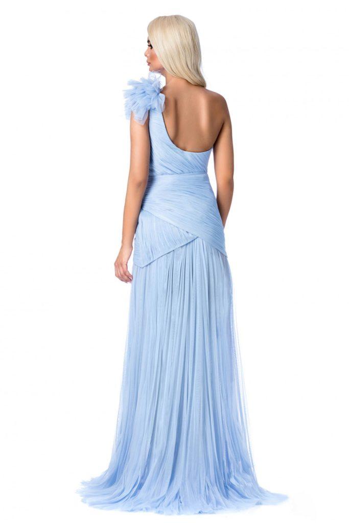 Rochie albastra deschis de lux cu bust buretat si corset cu umerii goi Ana Radu