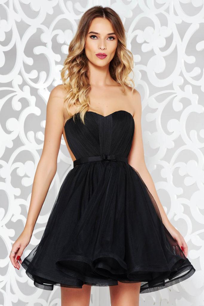 Rochie scurta neagra Ana Radu de lux tip corset cu fusta vaporoasa din voal diafan pentru nunta sau botez