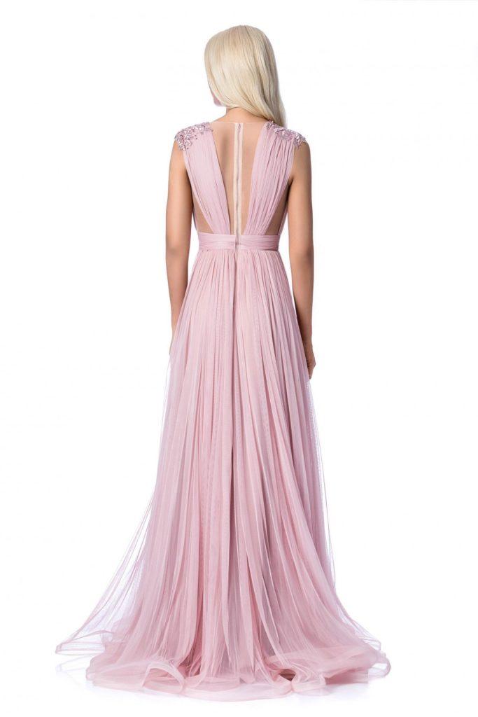 Rochie de ocazie roz lunga cu bust buretat si aplicatii de margele cu insertii de broderie Ana Radu