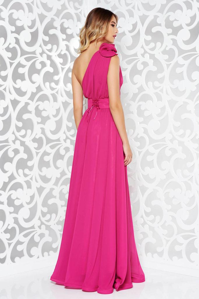 Rochie lunga roz fucsia de lux marca Ana Radu stil printesa realizata din voal suprapus cu design deosebit pentru nunta