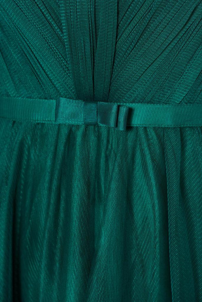 Rochie lunga verde inchis de lux marca Ana Radu cu bust buretat si fusta de printesa pana in pamant din voal