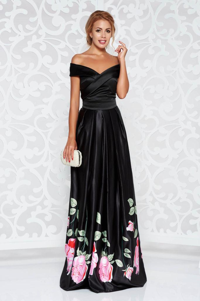 Rochie lunga neagra cu imprimeuri florale de ocazie cu umerii goi din material satinat Artista